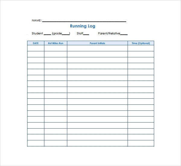 Sample Running Log Template   Free Documents In Pdf