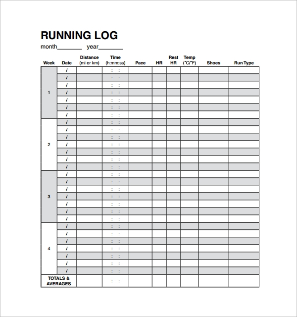 Sample Running Log Template   Free Documents In