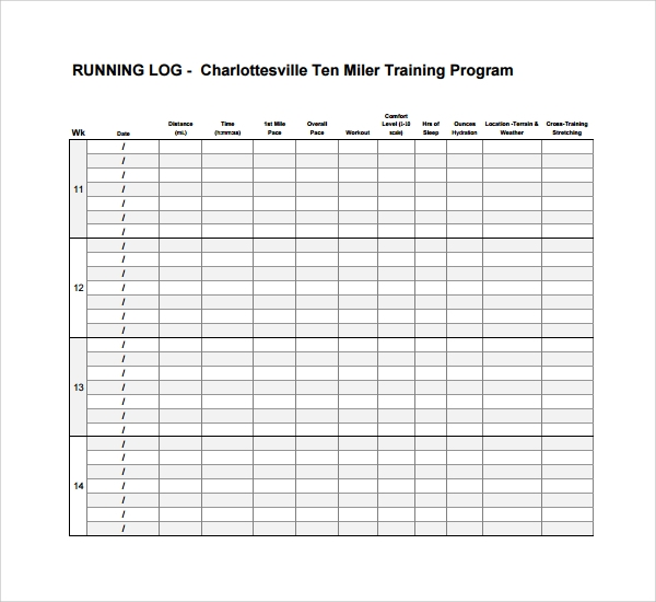 training journal template