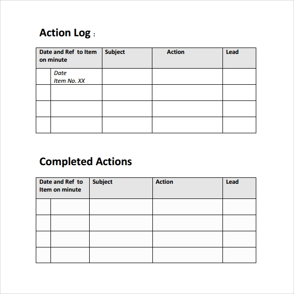 Action Log Template  WowcircleTk