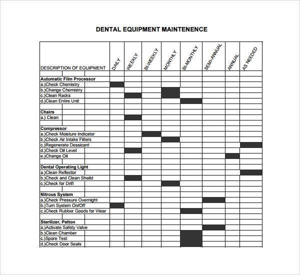 10 maintenance log templates to download sample templates for Equipment log book template