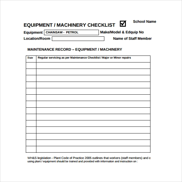 Sample Maintenance Log Template - 9+ Free Documents in PDF