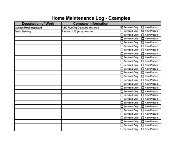machine maintenance log template 10 Maintenance Log Templates to Download | Sample Templates