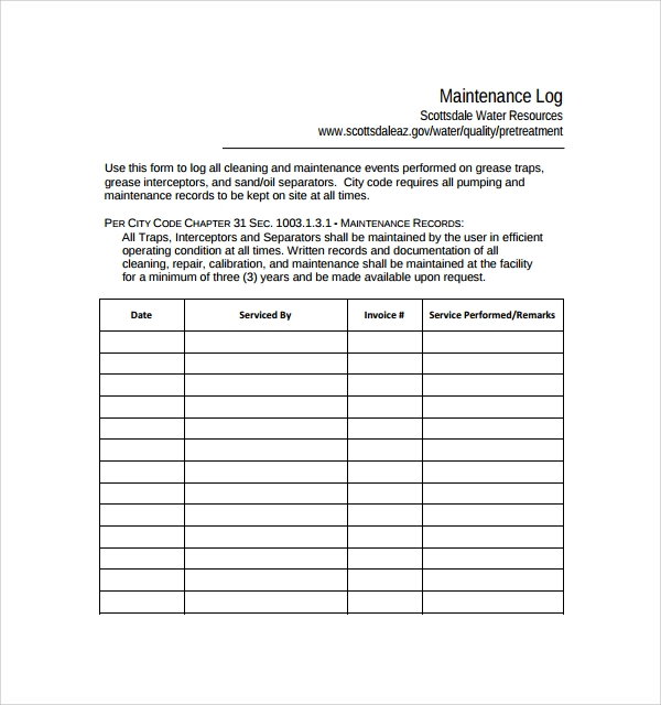 sample maintenance log template 9 free documents in pdf