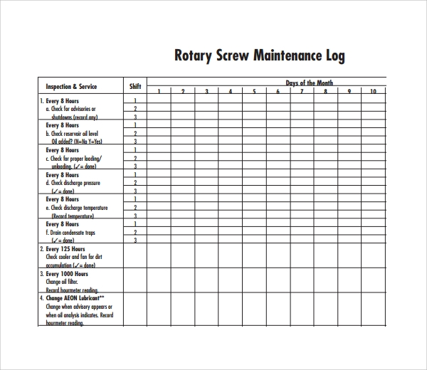Sample Maintenance Log Template   Free Documents In Pdf