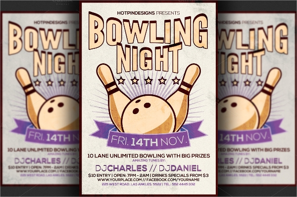 psd file format bowling flyer