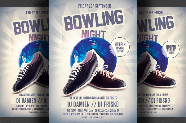 bowling flyer design template