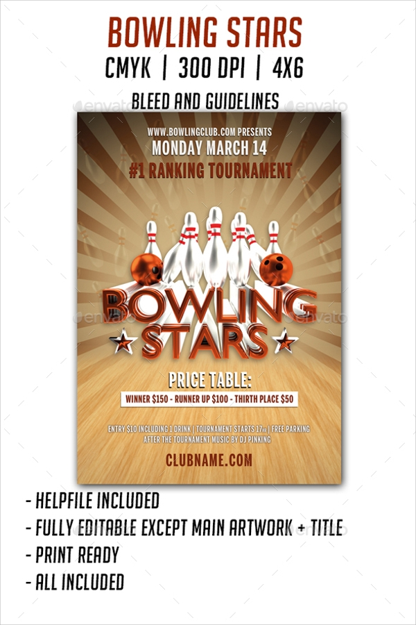 Bowling Flyer Template 23 Download In Vector Eps Psd