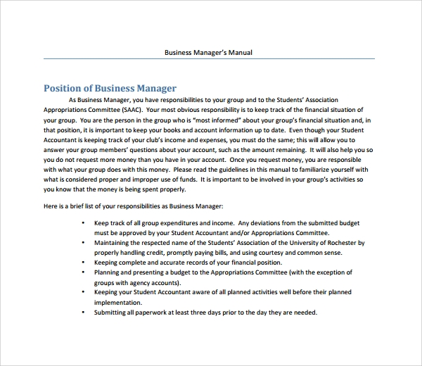 business manager%e2%80%99s manual