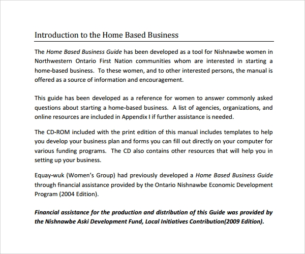 home based business manual