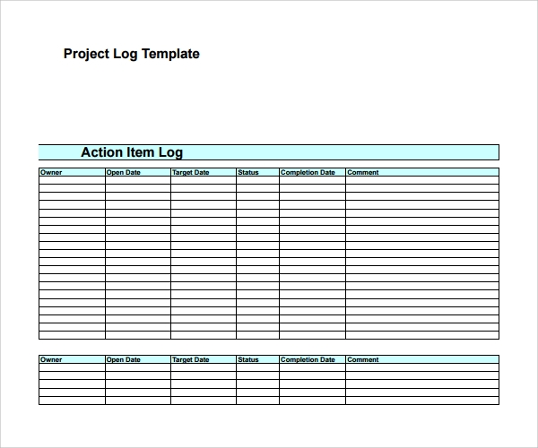 free template for project log shefftunestk