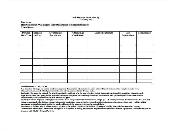 Key Register Template Free 10 Decision Log Templates To Download Sample Templates