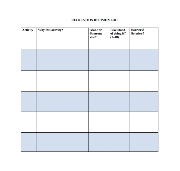 Sample Decision log Template - 9+ Free Documents in PDF, Word
