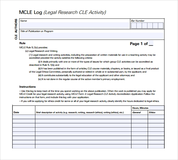 research log template