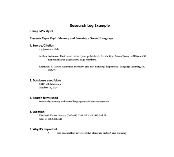research log example pdf