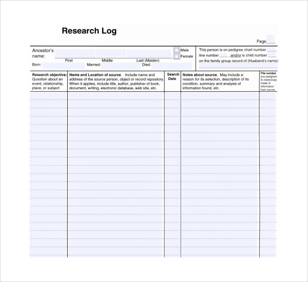 sample research log template