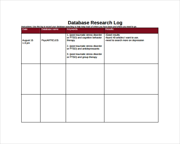 database research log