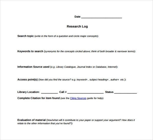 Sample Research Log Template   Free Documents In Pdf Word
