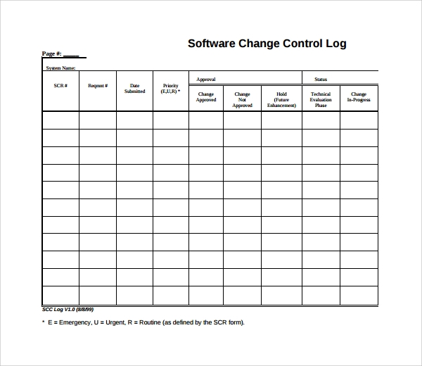 Sample Change Log Template   Free Documents In Pdf