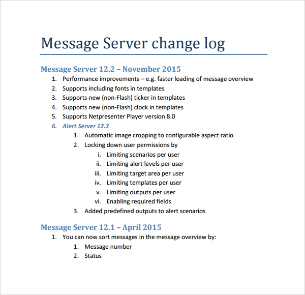 server change log template