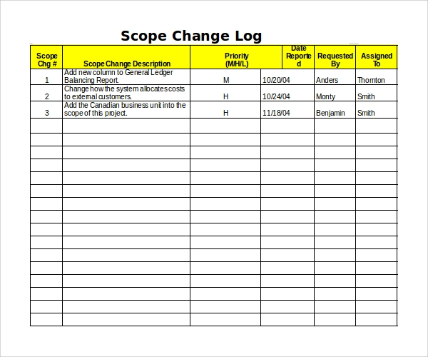 Sample change log template 9 free documents in pdf for Change log template project management