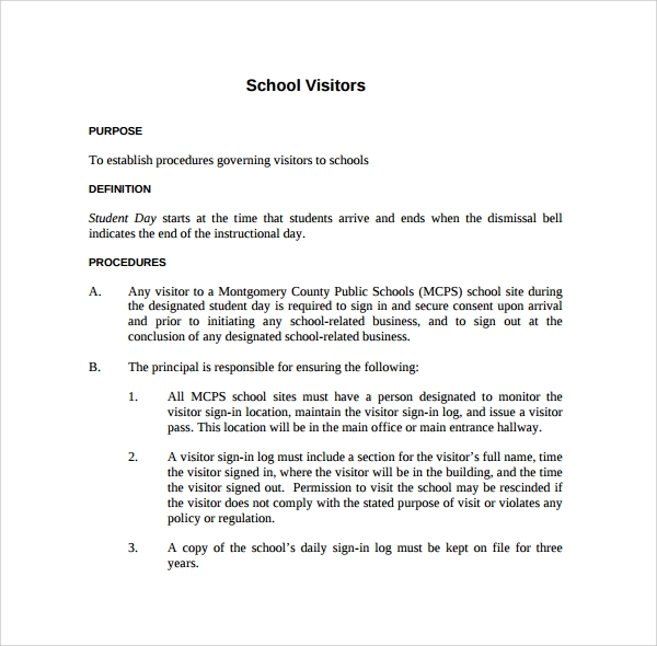 school visitor log template