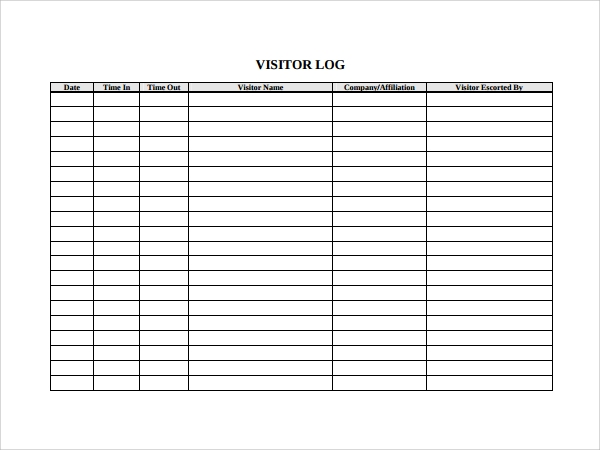 Sample Visitors Log Template   Free Documents In Pdf Word
