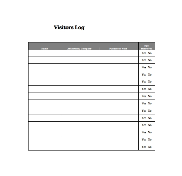 9  visitors log templates  u2013 pdf  word