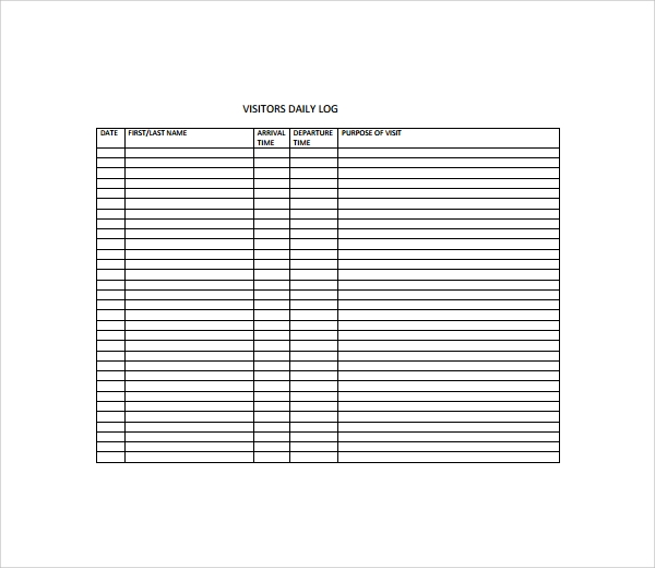 Sample Visitors Log Template - 9+ Free Documents in PDF, Word