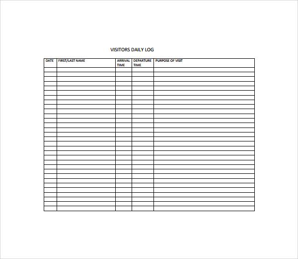 sample visitors log template 9 free documents in pdf word. Black Bedroom Furniture Sets. Home Design Ideas