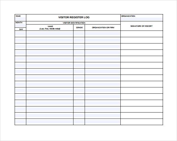 Free visitor log printable visitor log template autos post for Document register template free