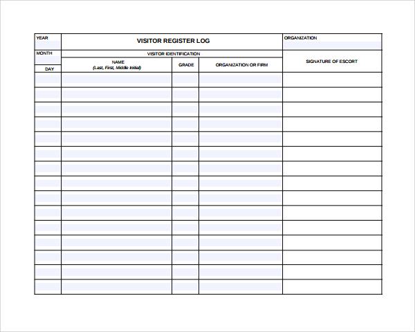 sample visitors log template