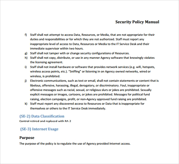 security policy document template - 7 security manual templates sample templates