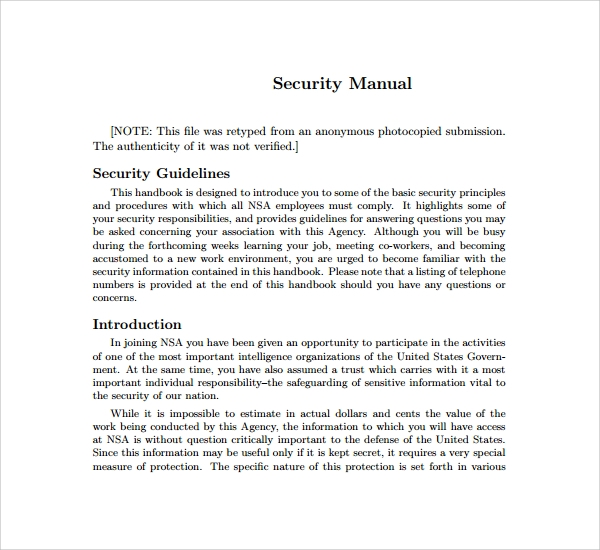 Sample Security Manual Template   Free Documents Download In Pdf