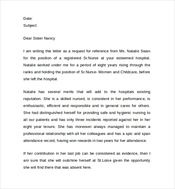 Registered Nurse Reference Letters  Job Reference Letter Template