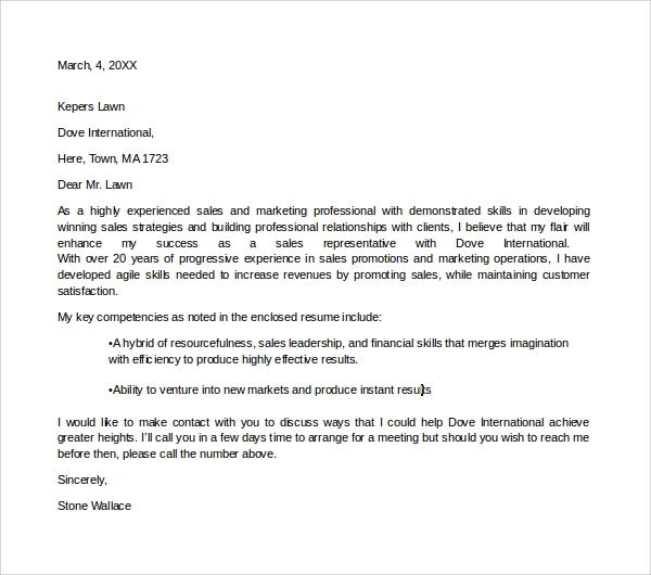 Job Application Letter Sample Marketing