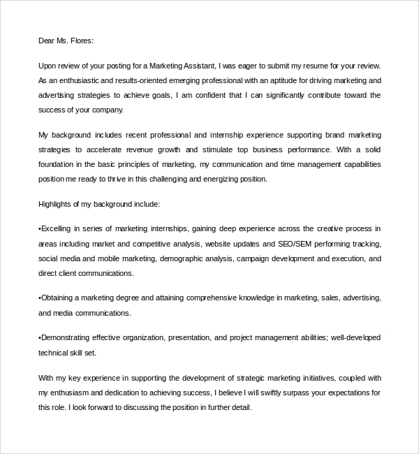 sample marketing assistant cover letter