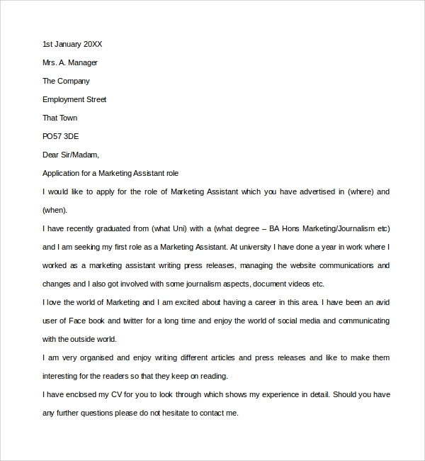 Sample Marketing Assistant Cover Letter 8 Free Documents