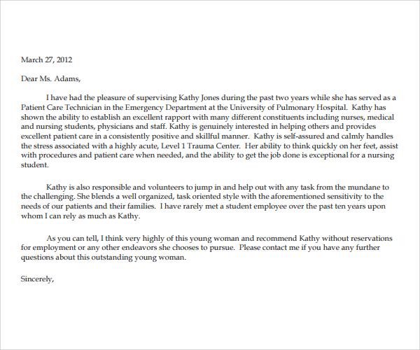 Professional Reference Letter For Nursing School Evoo Tk