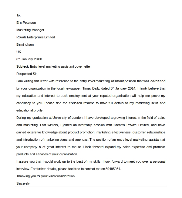 Sample Marketing Assistant Cover Letter - 8+ Free Documents In Pdf