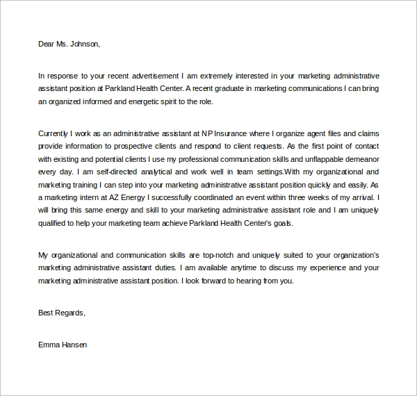 Nice Marketing Administrative Assistant Cover Letter Sample