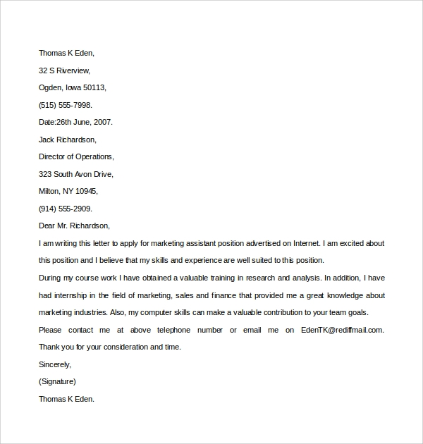 sample marketing assistant cover letter 8 free documents in pdf