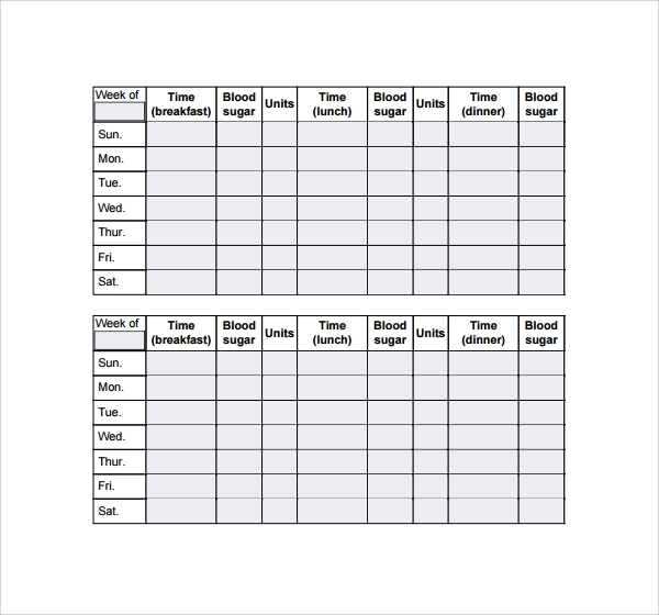 Sample blood sugar log template 9 free documents in pdf for Blood sugar log book template