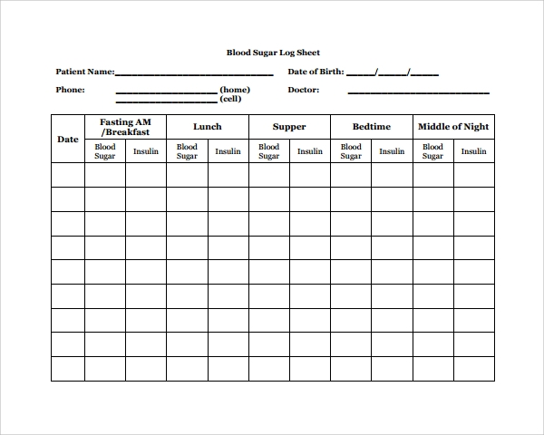 Sample Blood Sugar Log Template   Free Documents In Pdf Word