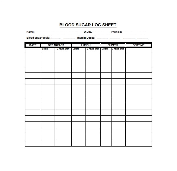 photograph regarding Printable Blood Glucose Log named Pattern Blood Sugar Log Template - 8+ Cost-free Files inside PDF, Phrase