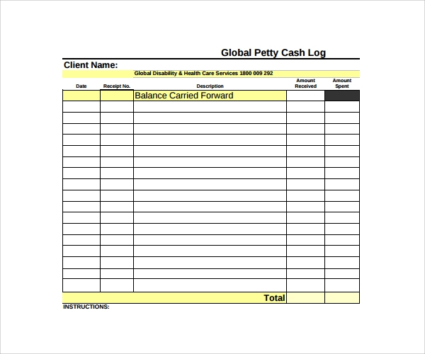 free petty cash log template