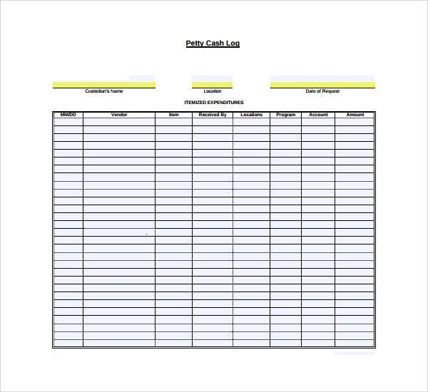 Sample Petty Cash Log Template 8 Free Documents in PDF Word – Free Petty Cash Template