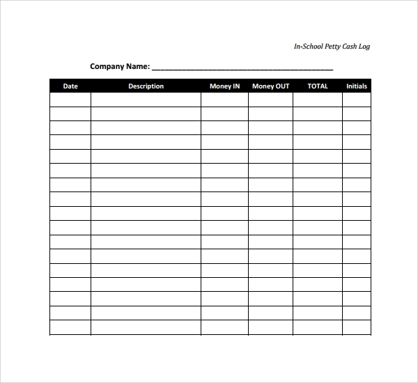 photograph relating to Petty Cash Log Printable identified as Pattern Petty Money Log Template - 8+ Free of charge Files within PDF, Phrase