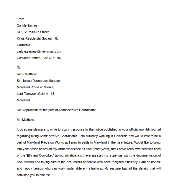 Sample Administrative Coordinator Cover Letter - 8+ Free ...