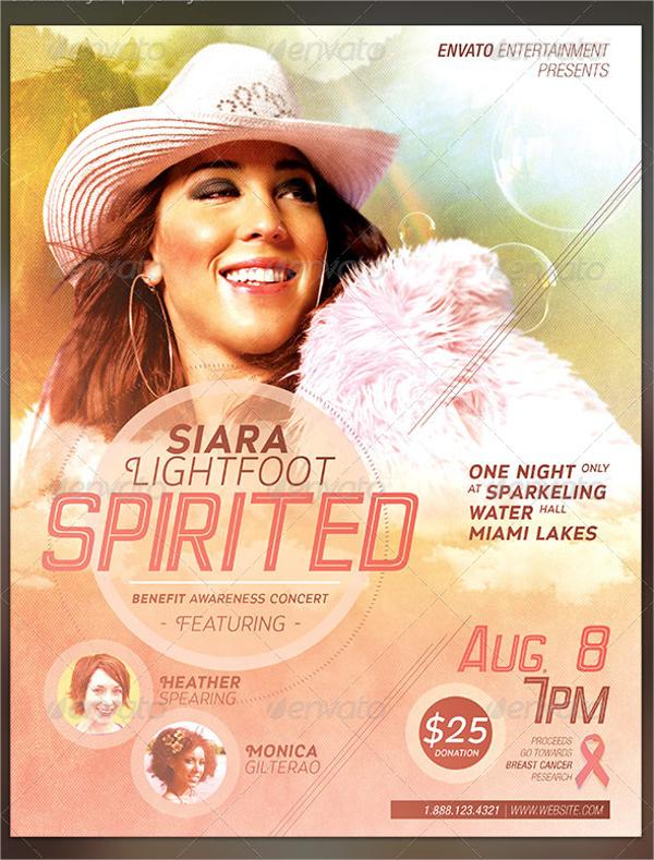 spirited benefit concert flyer template